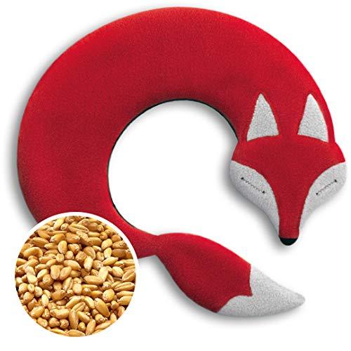Leschi COUSSIN CHAUFFANT relâche les tensions de la nuque/bouillote pour micro-ondes/coussin en graines de blé pour femmes (cou, cervicales), enfants et bébés/Renard Noah, rouge noir