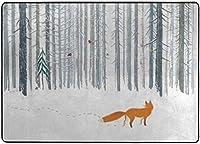フォックスバードエリアラグ、リビングダイニングルームベッドルームキッチン用ラグ、5'X7'保育園ラグフロアカーペットヨガマットのある冬の森の風景