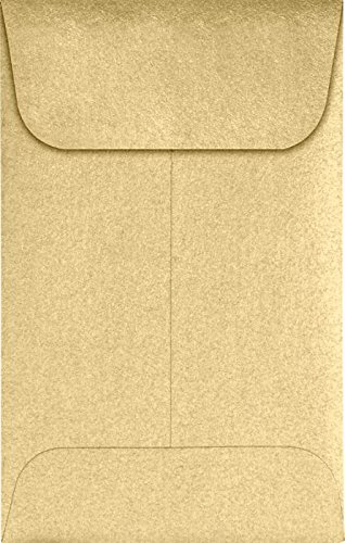 LUXPaper #1 Coin Envelopes in 80 lb. Blonde Metallic, Envelopes for Coin Collections, Garden Seeds, Stamps, and More, w/Moistenable Glue, 500 Pack, Envelope Size 2 1/4 x 3 1/2 (Gold)