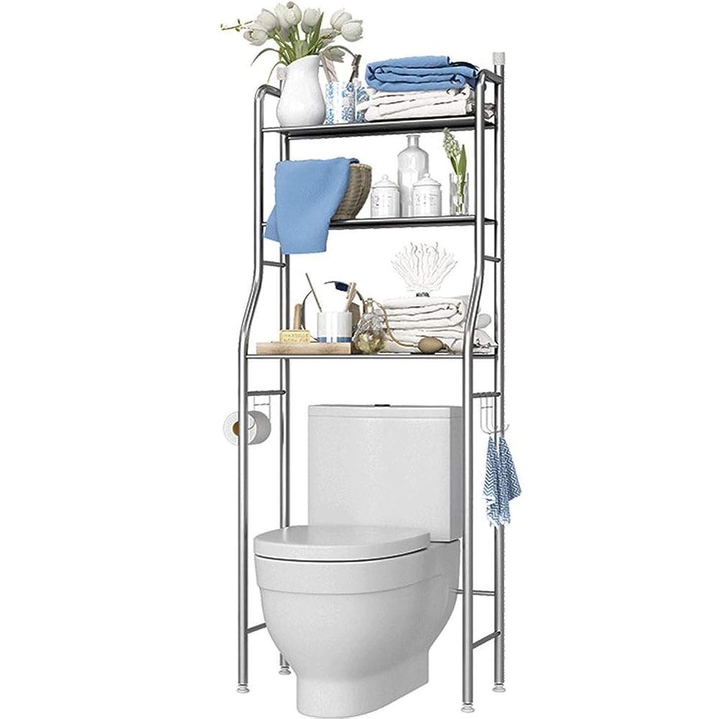ロビーたくさんの極めてステンレス鋼の浴室トイレ壁掛け収納トイレトイレ洗濯機トイレ棚フロアストレージラックラック (Color : A)