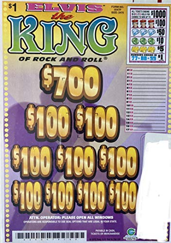 King Elvis $1000 Bingo Pull Tabs, Seal Card Elimination Game