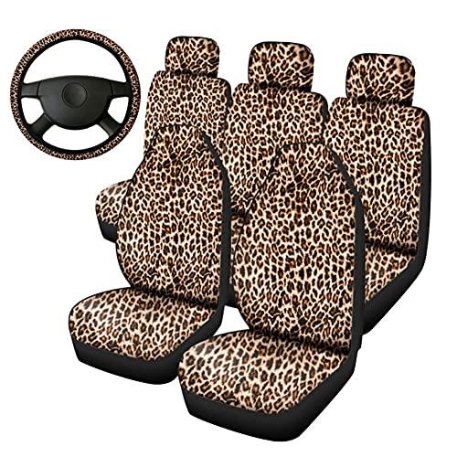 Protectora de Asiento de Coche con Estampado de Leopardo Universal Fundas para Asientos Delanteros y Traseros de Coches Cubiertas de Asiento de Poliéster para Autos 8 Piezas