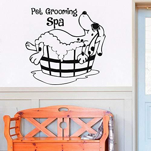 Pet Grooming SPA Etiqueta de la Pared para el Perro Grooming Salon Vinilos Adhesivos de Pared Disponibles para la decoración de la Tienda de Mascotas Home Interior Wall Mural 87x84cm