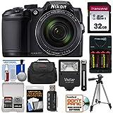 Nikon Coolpix B500 Wi-Fi Digital Camera (Black) with 32GB Card + Batteries & Charger + Case + Tripod + Flash Kit (Renewed)