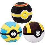 Pokémon 4' Pokeball Plush 3-Pack - Ultra, Luxury & Quick Balls - Soft Stuffed Poké Balls with Weighted Bottom - 3+
