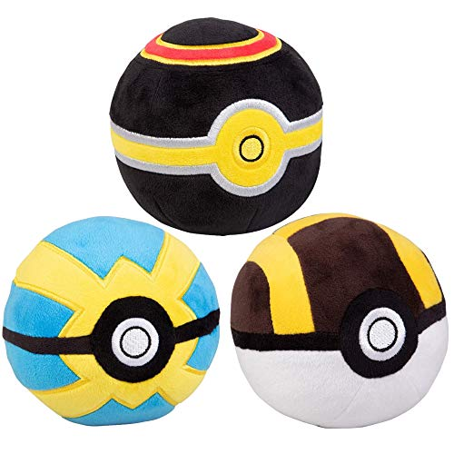 Pokémon 4' Pokeball Plush 3-Pack - Ultra, Luxury & Quick Balls - Soft Stuffed Poké Balls with Weighted Bottom - 3+