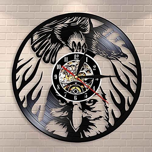 Tbqevc Arte de Pared Animal águila, dignidad en el Cielo, pájaro, Vintage, Reloj de Pared de Vinilo, decoración del hogar de 12 Pulgadas