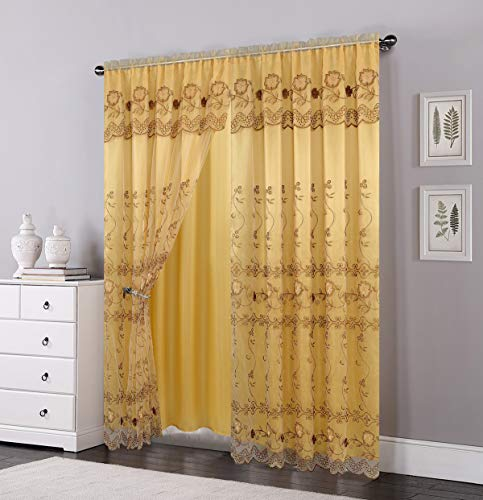 OPT. Brand. Set of 2 Panels Double Layers Voile Sheer Embroidered Rod Pocket Window Curtain Panels and Valance. 81005-2 (Gold)