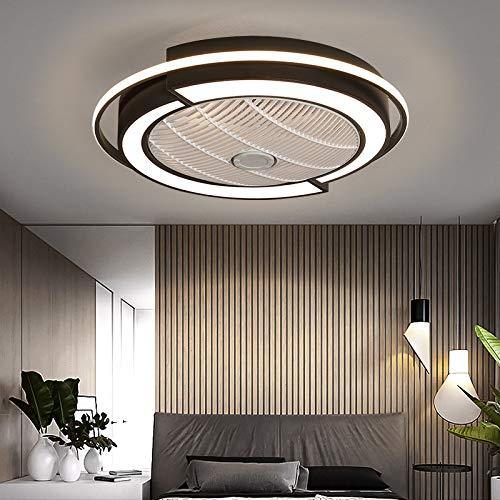 MLDSJQJ Los Ventiladores de Techo del Dormitorio iluminan la Sala de Estar del hogar, la lámpara Invisible del Ventilador de Techo, Las lámparas silenciosas Modernas Minimalista,De Color Negro,110V