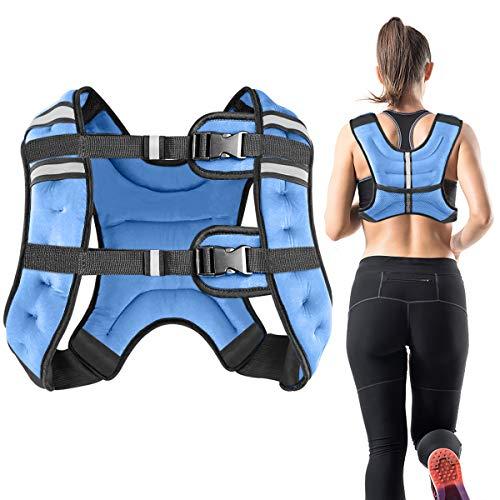 Vailge Chaleco lastrado, 2 kg/5 kg/10 kg, entrenamiento con pesas, chaleco de entrenamiento para fitness, entrenamiento de fuerza, correr, entrenamiento cruzado, desarrollo muscular (10 kg, azul)