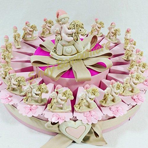 Torta bomboniera Nascita Battesimo Bambina cavallucci a Dondolo * (Torta da 90 fette)