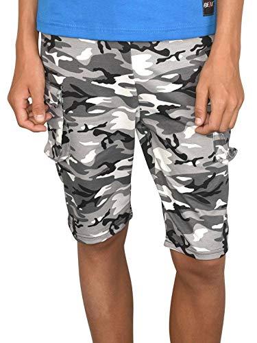 BEZLIT Jungen Shorts Kinder Kurze-Hose Cargo Capri Short Hosen Strech 30079 Schwarz-Camouflage 140/146