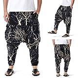 D-Rings Pantalones de verano de algodón y lino para hombre, sueltos, informales, cortos, ligeros, elásticos, para el hogar, Negro , XXXL
