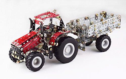 RC Auto kaufen Traktor Bild 3: Tronico 09581 - Metallbaukasten Traktor Case IH Magnum 340 mit Kippanhänger und Fernsteuerung, Maßstab 1:64, Micro Serie, rot, 461 Teile*