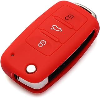 Yuzlder Car Key Cover VW Skoda Key Fob Cover VW Skoda SEAT 3 Button Car Key Silicone Case Protector Silicone Key Cover