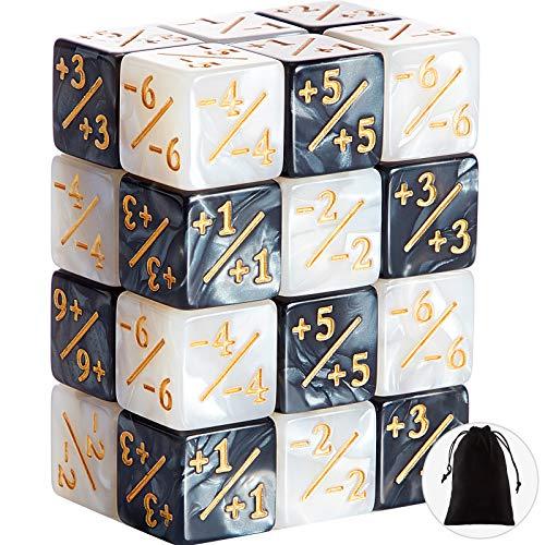 24 Stücke Würfel Zähler Zeichen Würfel D6 Würfel Cube Loyalität Würfel Kompatibel mit MTG, CCG, Kartenspiel Zubehör, 2 Farben
