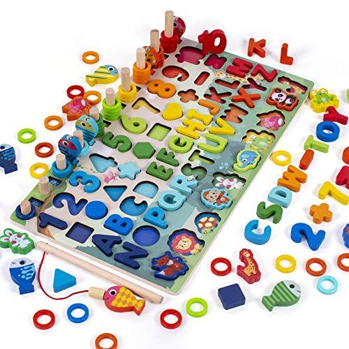 Montessori Spielzeug Ab 4 Jahre Holz Multifunktionale Holzblöcke Puzzles Lernspielzeug, Kleinkind Angeln Spiel Spielzeug, Bunt ABC Kinder Kleinkinder Vorschule Lernspielzeug