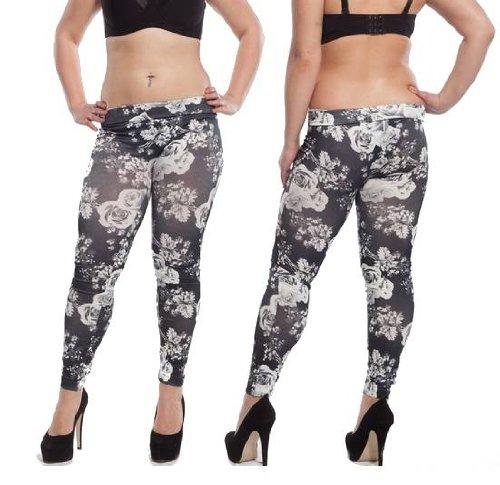 Bloemen stretch dames leggings conditie broek zwart treggings jeggings jeans maat L/XL