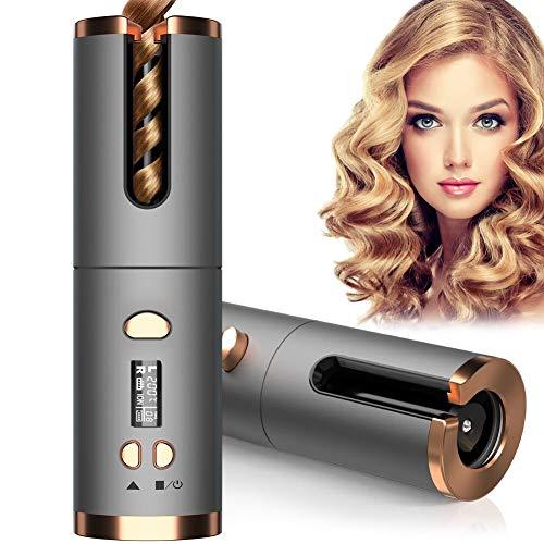 Automatischer Lockenstab Kabellos Lockenwickler Wiederaufladbarer USB Lockenstäbe Curling Machine mit LED-Display Keramikbeschichtung und 6 Temperatureinstellungen
