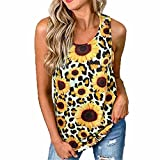 ZFQQ Summer Chaleco Camiseta Mujer U-Cuello Estampado de Leopardo Estampado de Girasol Halter Hollow Top sin Mangas