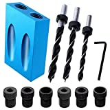 14 Pcs Pocket Hole Jig Kit,15 Degree 6/8/10mm Drive Adapter for Woodworking Angle Drilling Holes