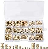 Sweetone Tuerca Moleteada, 380 piezas de roscas para atornillar, M2, M3, M4, M5, M6, tuercas de latón, rosca interior, Rosca Hembra Tuerca de Redondo Tuerca de inserción