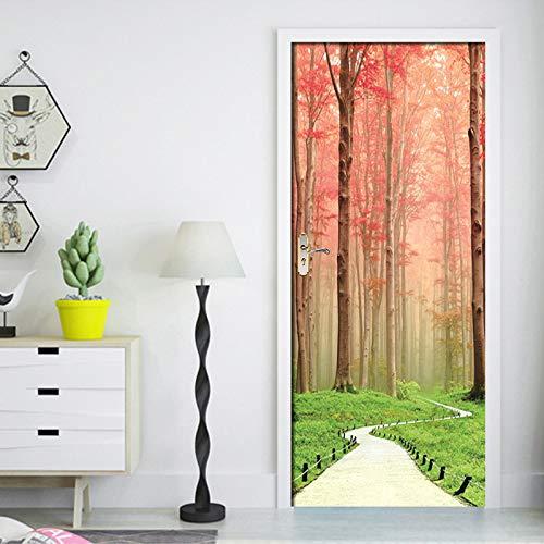 Mural Para Puerta 3D Bosque Rojo Camino Flor Sala De Estar Dormitorio Desmontable Autoadhesivo Papel Pintado Puertas 95 X 215 cm