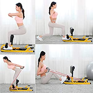 uyoyous 4-in-1 Deluxe Multi-Function Deep Sissy Squat Bench with Anti-Skid Measures, Soft PVC Cover Home Gym Workout Station Leg Exercise Machine