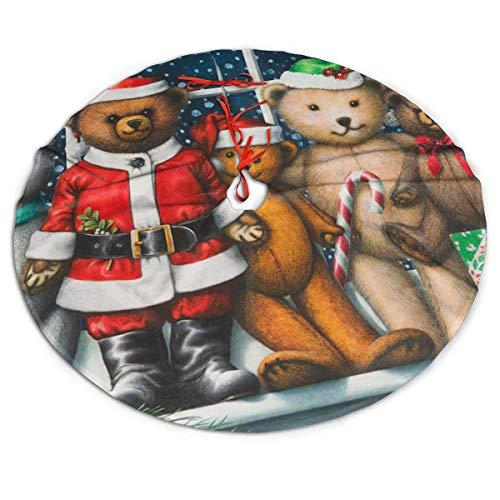 AEMAPE Christmas Cute Bear Sugar Cane Cap Merry Themed Round Christmas Xmas Tree Skirt Carpet Mat Rugs Pad Party Favors Supplies Home Ornament Decoration 36'