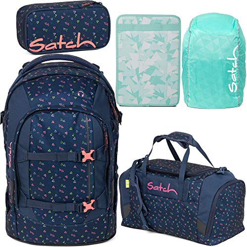 Satch Pack Funky Friday 5er Set Schulrucksack, Sporttasche, Schlamperbox, Heftebox & Regencape Mint