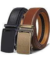 Ratchet Belt 2 Units,Bulliant Mens Belt Sliding Click Belt for Mens Dress,Size Adjustable