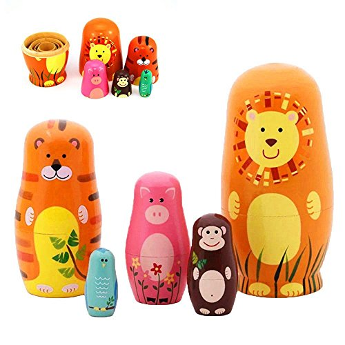 "Maxshop 5 Pieces 6"" Tall Cute Nesting Dolls - Handmade Wooden Different Pattern Small Items - Matryoshka Doll Handmade Wooden Dolls Cartoon Black Animals Pattern Toy Gift"