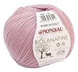 Biowolle Lane Mondial Bio Lana Fine Fb. 887 altrosa, 50g reine Schurwolle zum Stricken, Babywolle Bio