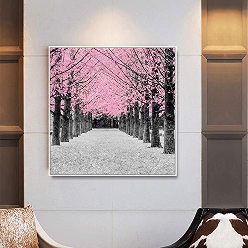 Wleyy kunstschilderij, eenvoudig, roze, hout, handbeschilderd, canvas, olieverfschilderij, foto, voor woonkamer, decoratie thuis
