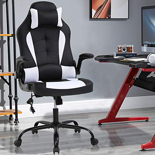 Massage Gaming Chair Ergonomic Office Chair High Back Desk Chair PU Leather Executive Chair with Lumbar Support Headrest Armrest PC Racing Computer Chair Task Rolling Swivel Chair, White