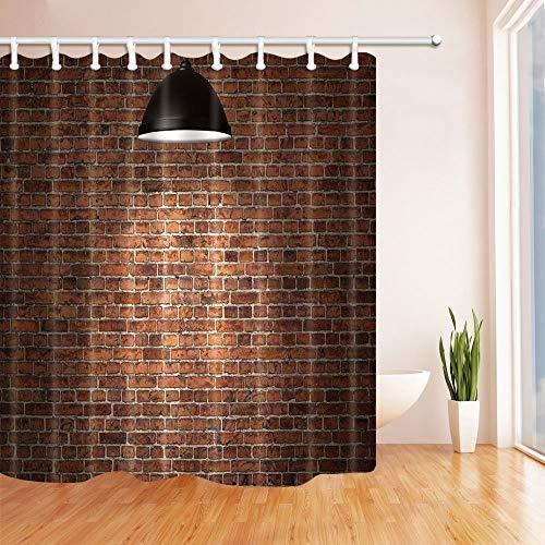 mintlmk rode bakstenen muur verlicht door de plafondlamp douchegordijn 71X71 inch polyester stof bad Fantastische decoraties bad gordijn haken inbegrepen