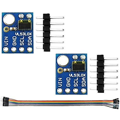 Youmile 2Pcs Módulo de Sensor de Rango GY-530 VL53L0X Sensor de Rango de láser de Tiempo de Vuelo (ToF) 2.8-5V I2C Comunicación de Interfaz IIC para Arduino