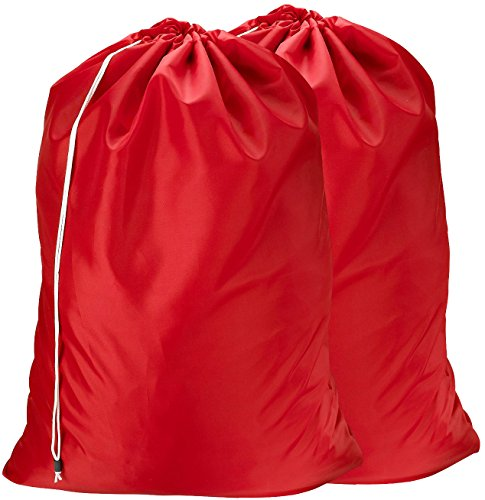 Nylon Laundry Bag - Locking Drawstring Closure and Machine Washable These Large Bags Will Fit a Laundry Basket or Hamper and Strong Enough to Carry up to Three Loads of Clothes Red  2-Pack