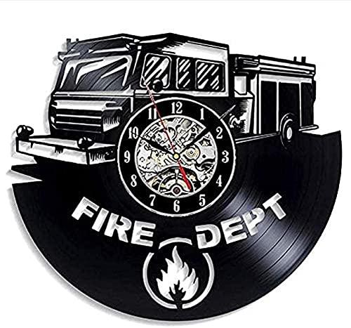 SHILLPS Feuerwehrauto Led Clock Wanduhr Aus Vinyl Schallplattenuhr Upcycling Uhr Wand-Deko Vintage Familien Zimmer Dekoration Kunst Geschenk Schwarz Durchmesser 30 cm
