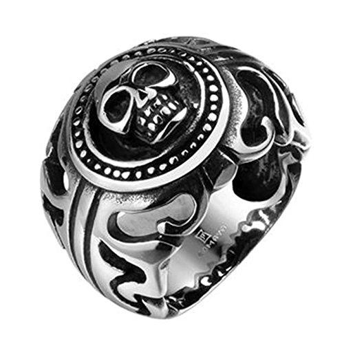 Aeici Silber Schwarz Ringe für Herren Modestil Hohl Schädel Kopf DaumenRingee Größe 65 (20.7)