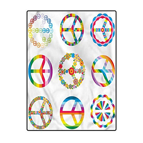 Groovy Area Rug Carpet Chair mat Old Fashion Peace Symbols 4 x 6 Ft