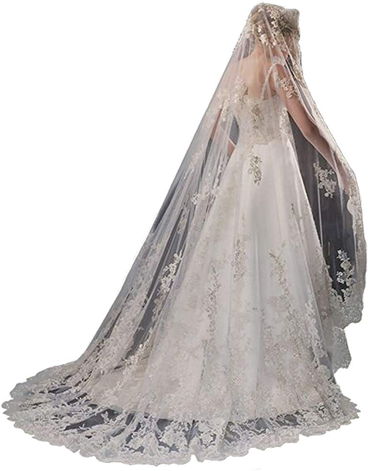 EllieHouse Women's Wedding Veils With Appliques Lace Edge Veils for Bride Free Comb S90