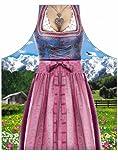 ITATI Dirndl Kochschürze Bayerische Tracht bunt, Bedruckt, 100% Polyester, Universalgröße für Erwachsene.