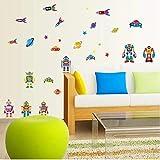 Kinderzimmer Cartoon Alien My Robot Friend Wandaufkleber Baby Kleiderschrank Dekoration Raumschiff Rocket Pvc Kid Schlafzimmer Aufkleber 50X70Cm