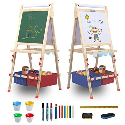 Taleco Gear Cavalletto artistico per bambini in legno con cavalletto su entrambi i lati e cavalletto bianco, regolabile in altezza (L)