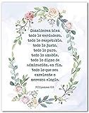 Filipenses 4:8 En Espanol Wall Decor - Philippians 4:8 Cuadro - Mensajes Cristianos Para Pared en Español - Christian Wall Decor In Spanish - 8x10 - Unframed