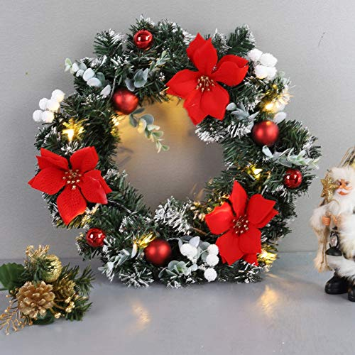 Balight Christmas Wreath with Battery Operated LED String Lights Front Door Hanging Garland Holiday Decorations