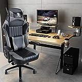 KILLABEE Memory Foam Gaming Chair, Adjustable Tilt Angle and 3D Armrest Ergonomic High-Back Leather Racing Executive Computer Desk Office Metal Base (Grey)