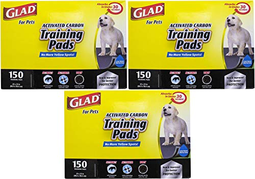 Glad for Pets Black Charcoal Puppy Pads | Puppy Potty Training Pads That Absorb & NEUTRALIZE Urine Instantly | New & Improved Quality, 150 Count Pack of 3