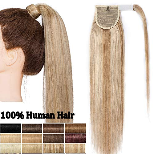 Ponytail Extension Echthaar Hell Gold-braun/Gebleichtes Blond #12/613 pferdeschwanz clip in extensions echthaar zopf 18